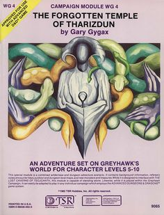 WG4 The Forgotten Temple of Tharizdun (1e) - Greyhawk | Book cover and interior art for Advanced Dungeons and Dragons 1.0 - Advanced Dungeons & Dragons, D&D, DND, AD&D, ADND, 1st Edition, 1st Ed., 1.0, 1E, OSRIC, OSR, fantasy, Roleplaying Game, Role Playing Game, RPG, Wizards of the Coast, WotC, TSR Inc. | Create your own roleplaying game books w/ RPG Bard: www.rpgbard.com