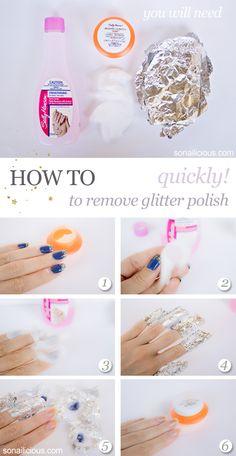 how to remove glitter polish quickly