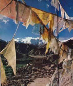 Prayer flags flutter high above Leh, Ladakh's largest city.  March 1978