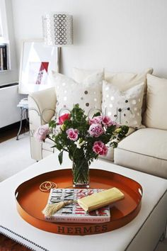 Pillows with mirrors on them. Hermes vintage tray. Olivia Palermo's apartment in NYC.