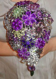 Gorgeous glittery purple brooch wedding bouquet...Wow!!