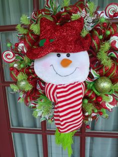 Christmas Red and Lime Green Snowman Deco Mesh