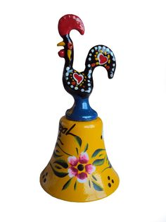 Yellow Bell Ring handpainted Barcelos Rooster