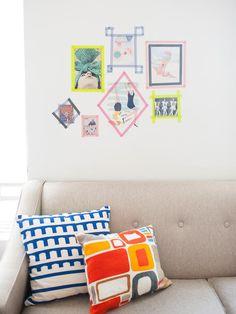 washi tape frames on wall