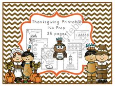 Thanksgiving Printable No Prep from Preschool Printables on TeachersNotebook.com -  (38 pages)  - Trace-color-match-write just a few of the activities included in this kit.