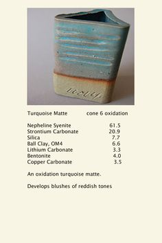 Turquoise Matte glaze, cone 6 oxidation