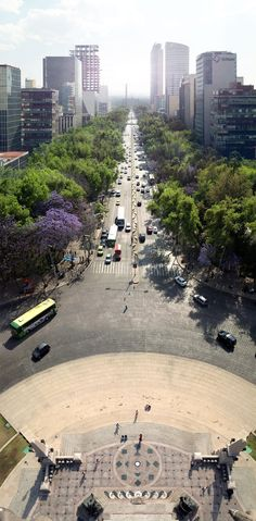 Reforma Avenue. View from the top of the Angel of Independence in Mexico City