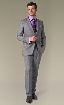 Light Gray Suit Purple Shirt