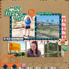 #papercraft #Scrapbook #layout.  Road Trip