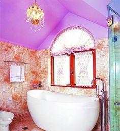 lovely bathtub, purple ceiling