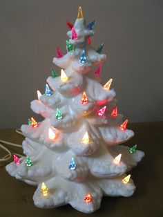 """GORGEOUS hard to find CREAMY WHITE 15"""" ceramic Christmas tree - snow tipped branches- 1960s/70s -handmade -table top tree"""