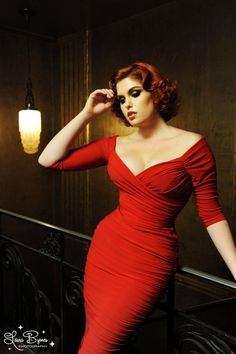 Pinup Couture - 50s Monica Dress in Red Matte Jersey Knit from Laura Byrnes Black The model looks gorgeous!