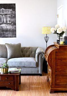 Loving this tufted back gray sofa @cheryl ng ng Tidymom