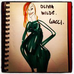 #OliveWilde #gucci #goldenglobes #illustration @blankstareblink #paulamangin