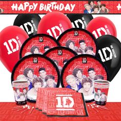 one direction party deluxe party supplies pack. Plates, cups, napkins, balloons, banner - £13.75 for 8 ppl