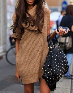 fashion, purs, sweater dresses, bag, outfit, street styles, oversized sweaters, winter chic, chunky knits
