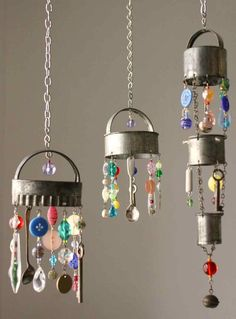 Porch or garden decorations made With Cookie Cutters, beads, buttons, chain, crystals, coins, old keys, tiny spoons.