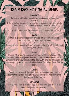 Post Pregnancy diet tips. A diet for nursing moms who want their beach babe body back! #beachbabefitness  this menu looks doable.