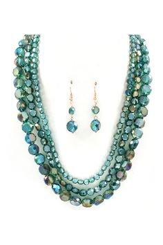 Crystal Anna Necklace & Earrings in Teal Vitrail.