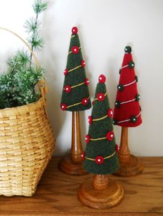 Felted Wool Christmas Trees with Oak by DreamingRoseDesigns, $35.00