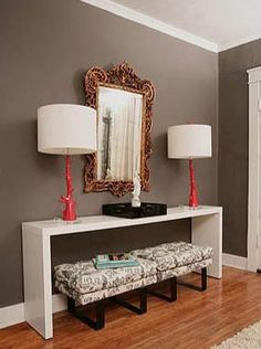 wall colors, living rooms, entry tables, lamp, foyer, paint colors, color scheme, entryway, console tables