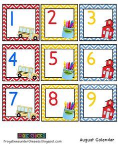 classroom calendar, educ idea, teacher notebook, augustseptemb idea, preschool calendar, august calendar, august classroom, calendar card, preschool printabl