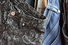 Lace denim: use clorox in a spray bottle with a lace or stencil you like. Let sit in the sun for a bit until it is set.