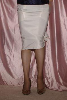 Visible Garter Bumps Under White Half Slip Sheer Stockings and Black High