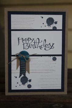 Gorgeous Grunge, Sassy Salutations Stampin' up! Birthday Card, Male. ~ Stamp With Rachel ~