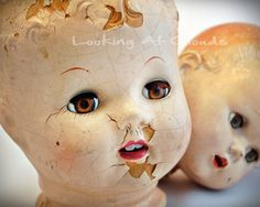 vintage Doll Heads with great eyes captivating slightly shabby 8 x 10 full COLOR fine art photography. Shop: LookingAtClouds