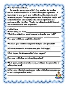 classroom idea, beginning of the year forms, parent form, school year, educ, school idea, first grade, back to school, teach idea