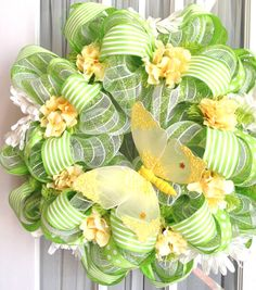 Spring Summer Mesh Wreath Lime Green White by SouthernCharmWreaths, $87.00