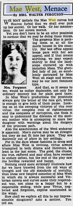 Mae West Menace The Pittsburgh Press - Oct 28, 1933