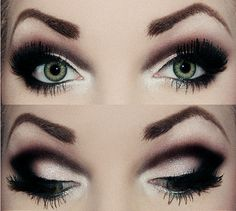 Smoky eye with heavy black dramatic crease eye make up #makeup #eyes #eyeshadow