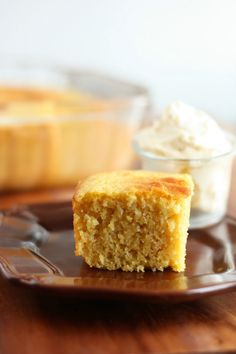 Cornbread (lightened up) and Whipped Honey Butter by cookingclassy #Cornbread #Light #Honey_Butter #cookingclassy