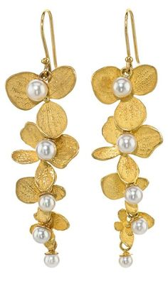 John Iversen Hydrangea Drop Earrings in 18k yellow gold with white pearls and 18k yellow gold ear wires. Via 1stdibs.