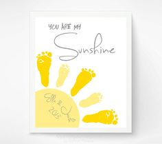 You Are My Sunshine Wall Art Print - Twins, Siblings Baby Footprint Sun - Gray & Yellow Nursery Art - Baby Wall Art - Playroom Art Print