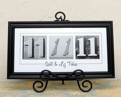 Wedding Date Sign, Numbers Photo Art - Anniversary BLACK Contemporary FRAMED -Custom Wedding - Frame Your Date Save the Date on Etsy, $49.99