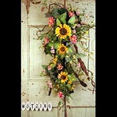 Country Summer Sunflower Surprise Silk Door Swag