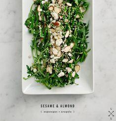 toasted sesame & almond asparagus salad