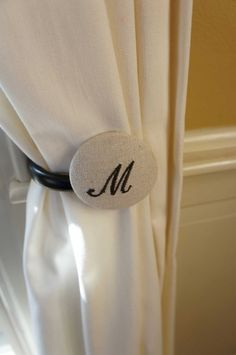 Monogram Curtain Tie Backs...love this for a sunroom or laundry room!
