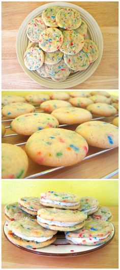 cakes cookies, sweet, funfetti cooki, funfetti cake cookies, cooki sandwich, food, recip, yummi, treat