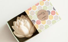 Such pretty handmade soaps shaped like lotus flowers. Great hostess gift.