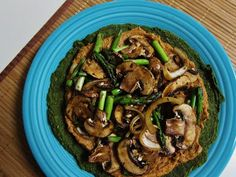 Raw pizza? No, its just just a frozen pizza that you leave out to thaw. Think more like this Raw Roasted Mushroom and Asparagus Pizza with Sun Dried Tomato Macadamia Ricotta. Yum! vegan pizza, asparagus pizza