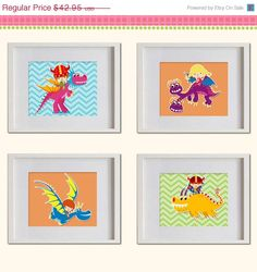 ON SALE Dragons Warriors Nursery Art Print  by MadeForYouPrints, $37.95