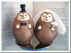 Hedgehog Wedding Cake Toppers