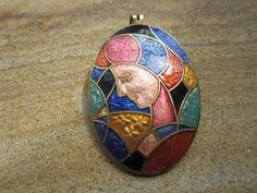 Vintage Enamel Pendant Woman's Face  by JewelsOfHighElegance, $12.50