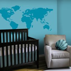 FOR CASEY  Baby Nursery Wall Decal - Large World Map Nursery Wall Decal - 7 feet wide world map decal - nursery wall map. $52.00, via Etsy.