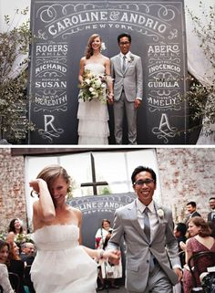 Custom chalk design used as backdrop for wedding ceremony and reception. Brilliant! Courtesy Dana Tanamachi, graphic designer and chalk letterer.