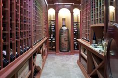 Wine Cellar with Huge Wine Bottle Centerpiece